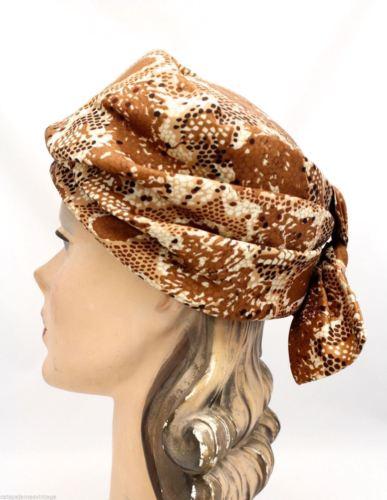 VTG 1950s Pillbox Hat Womens Snakeskin Print Silk Amy Label One Size