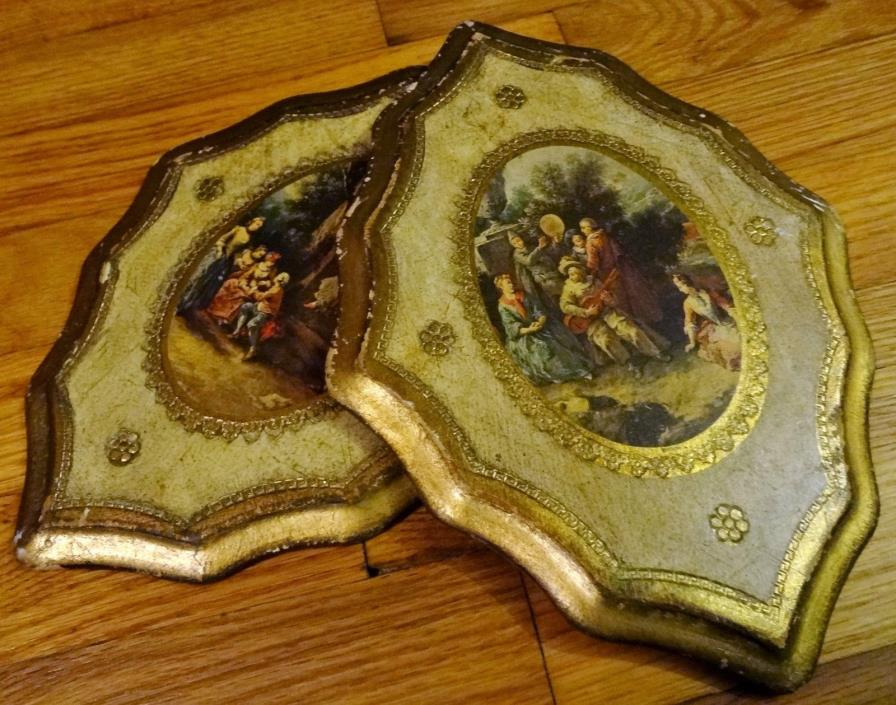 Pair of Vintage Italian Florentine Toleware Wood Wall Plaques Gold Gilt Picture