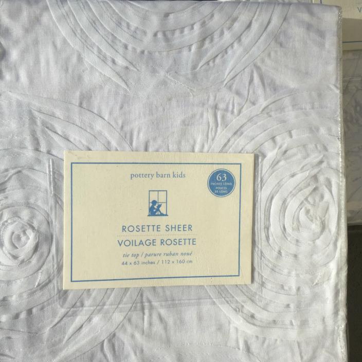 New Pottery Barn Kids White ROSETTE SHEER  84