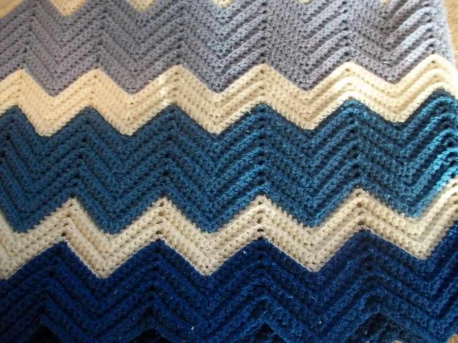 Crochet Afghan Blanket throw White and Shades of Blue