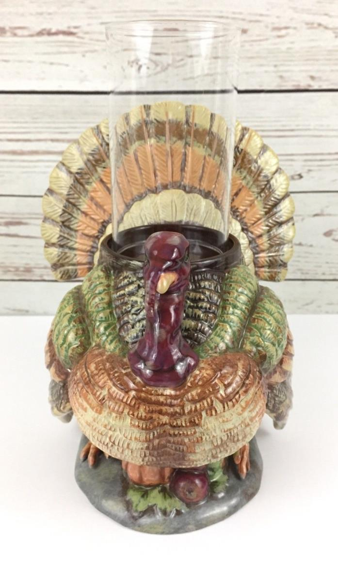 Department 56 Orchard Turkey Hurricane Pillar Candle Holder Thanksgiving