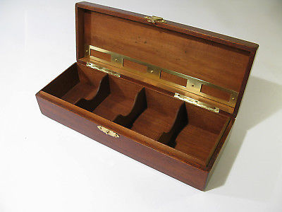 Antique Refinished Solid Mahogany Box with 4 Compartments & Label Holders