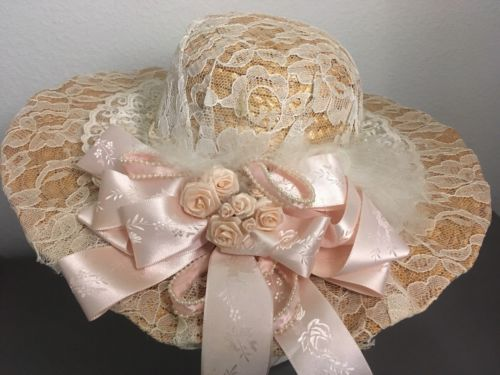 Easter Kentucky Derby Vintage Ladies Fashion Hat Church Dress Straw Hat Bow