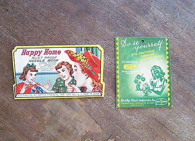 Rare Green 1950s Crafthouse Beading Needle Book + Happy Home Sewing Needles/Nice