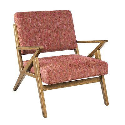 Light Red Tweed Look Modern Lounger Chair