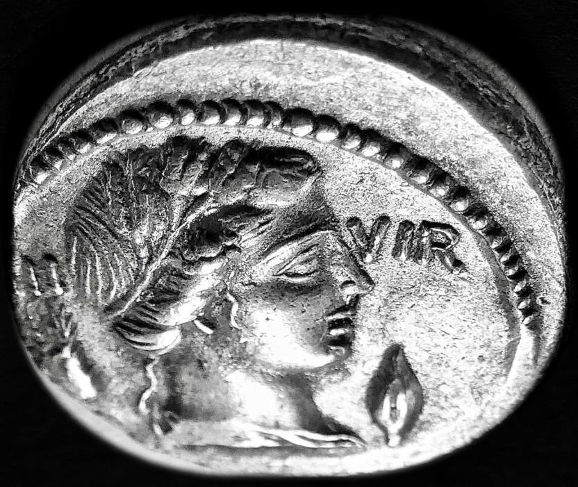Lucius Furius AR Denarius of the Roman Republic, EF, Lustrous.