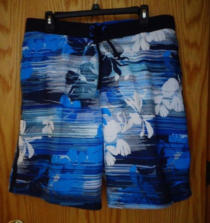 NWT Speedo Blue Hawaiian Flower elastic waist mesh lining swim trunks men's L