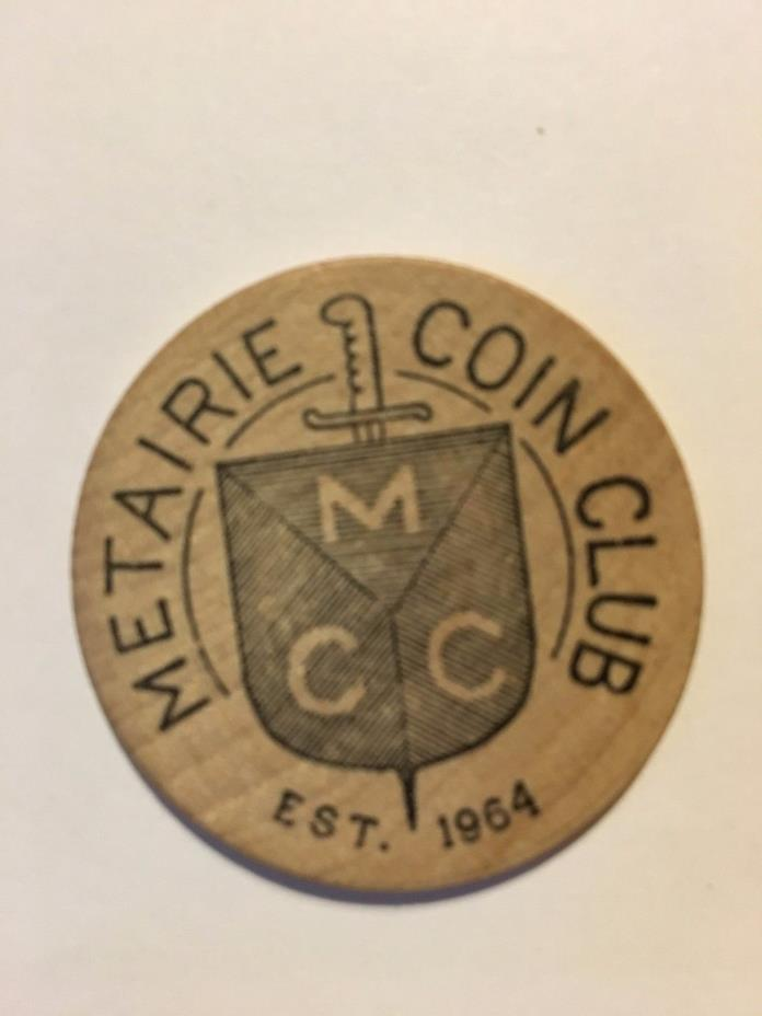 Vintage (Metairie Coin Club 67) WOODEN Mardi Gras Doubloon#wg2