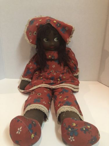 Large Vintage Cloth African American Girl Doll - 24""