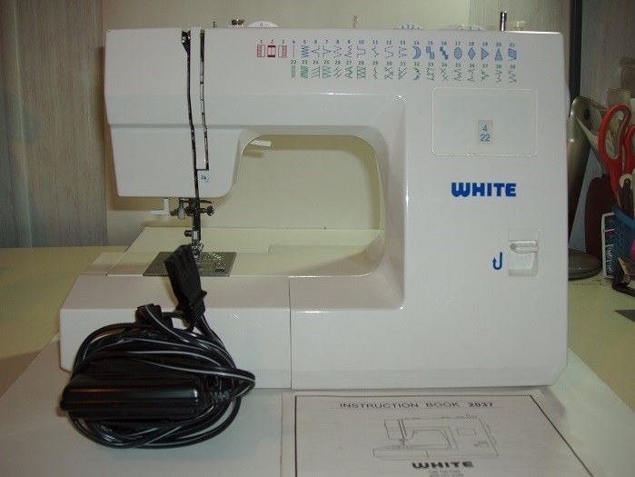 Used White Model 2037 Sewing Machine With Operational Manual