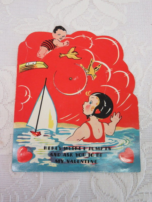 Mechanical Vintage Valentine, Diving Into a Pool