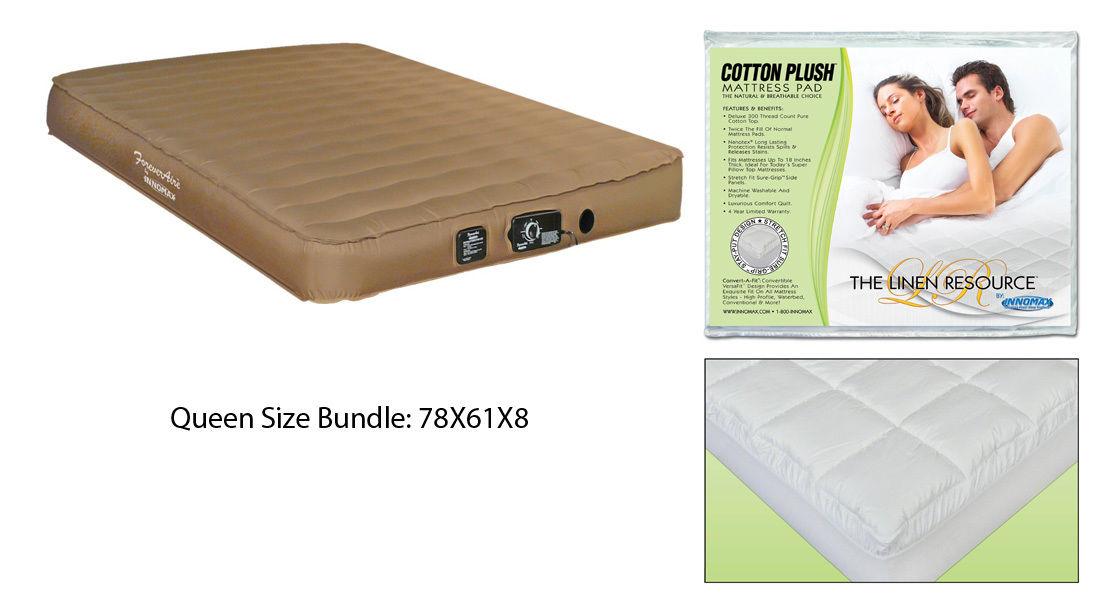 QUEEN Size Airmattress RV Air Mattress Guest and Cotton Plush Natural Topper