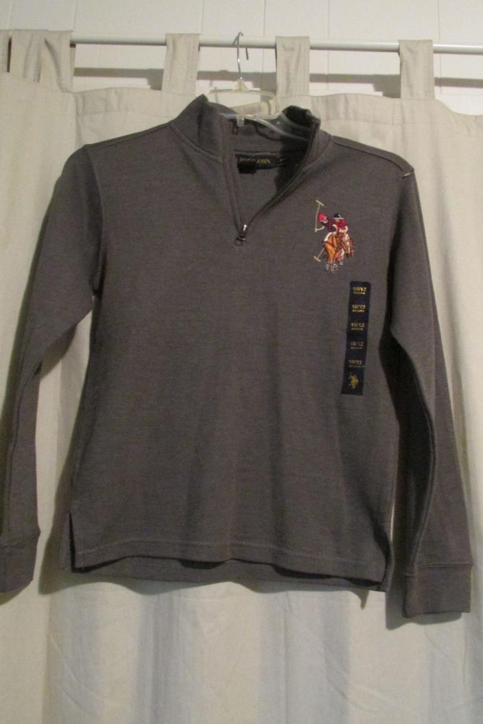 Boys U.S. Polo Assn Grey 1/2 Zipper Sweater - Big Pony - Size 10/12 New