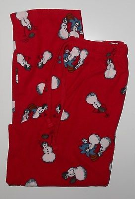 Croft & Barrow Red Snowman Fleece PJ Lounge Pants Size Medium
