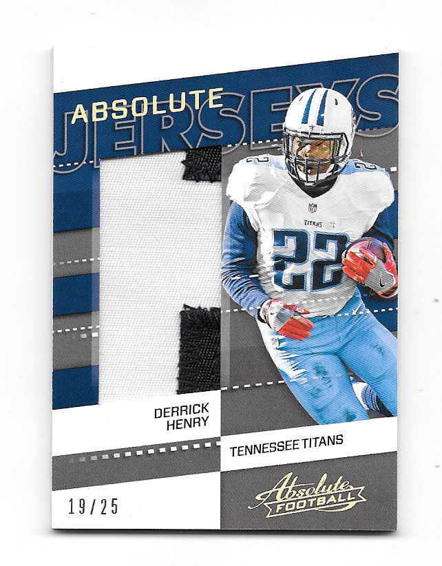 2017 Panini ABSOLUTE Derrick Henry 2-COLOR JERSEY PATCH 19/25 Tennessee Titans