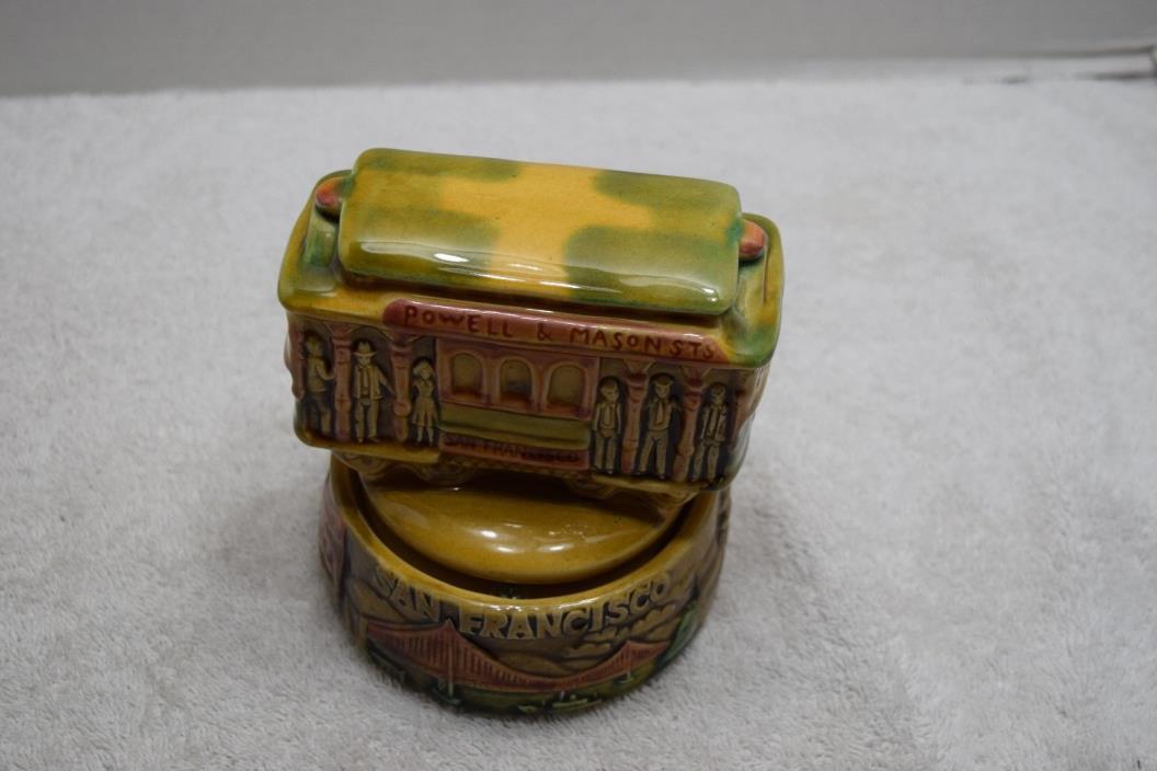 Vintage Ceramic Music Figurine, San Francisco Trolley Car, WORKS!!
