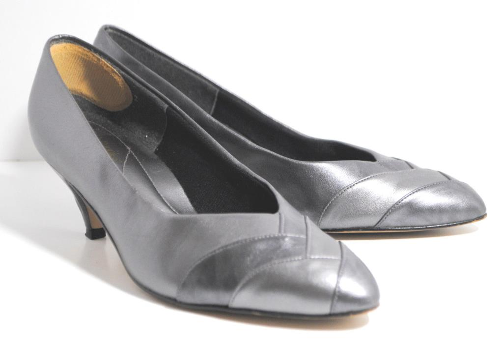 Vintage Hush Puppies Women's Heels 7.5 W Pumps Gray 80s Shoes Pointed Kitten