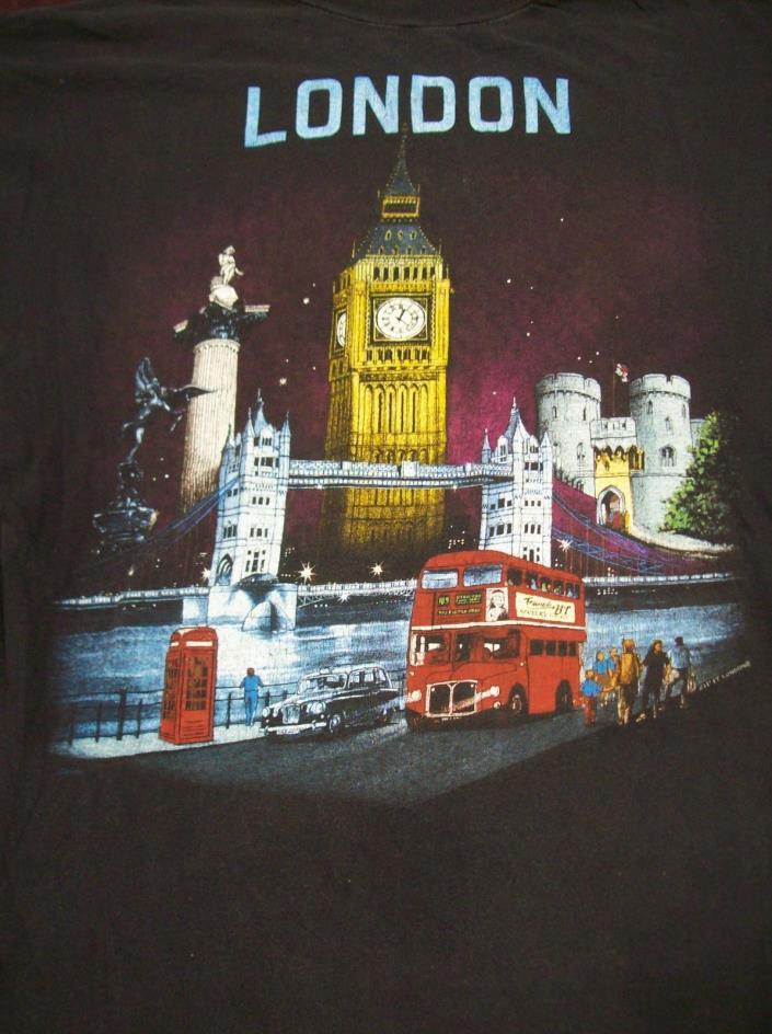LONDON VINTAGE T-SHIRT LARGE 1980's TOURIST BIG BEN DOUBLE DECKER BUS TELEPHONE