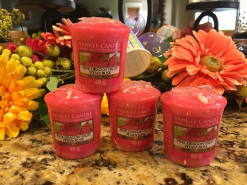 NIP Yankee Candle Pink Dragon Fruit Pitaya Rose Votive Candles Set Of 4