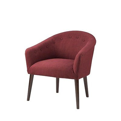 Burnt Red Barrel Back Accent Chair