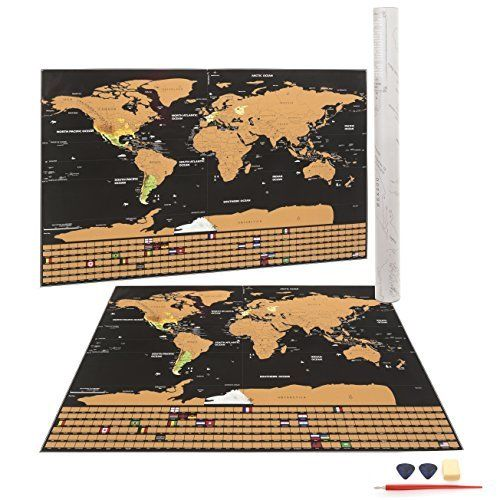 Map Scratch Off World Map w/ Scratch Pen Gift Tubing Pick Track Your Adventures