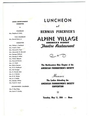 Herman Pirchner's Alpine Village Menu Theatre Restaurant Cleveland Ohio 1954