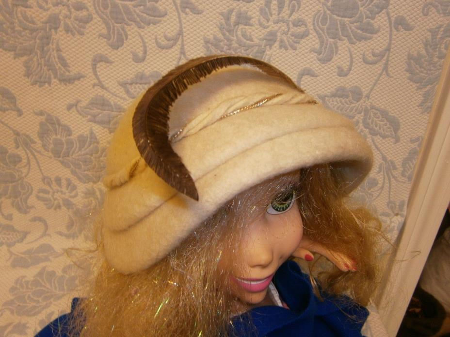 Vintage Melosoie Cream Wool Felt Large Feather Derby Tea Church Hat