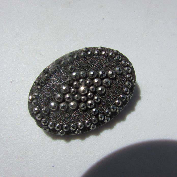 Button Antique Black Glass Silver Faux Steel Cut Oval Shape Swirls Cross Large