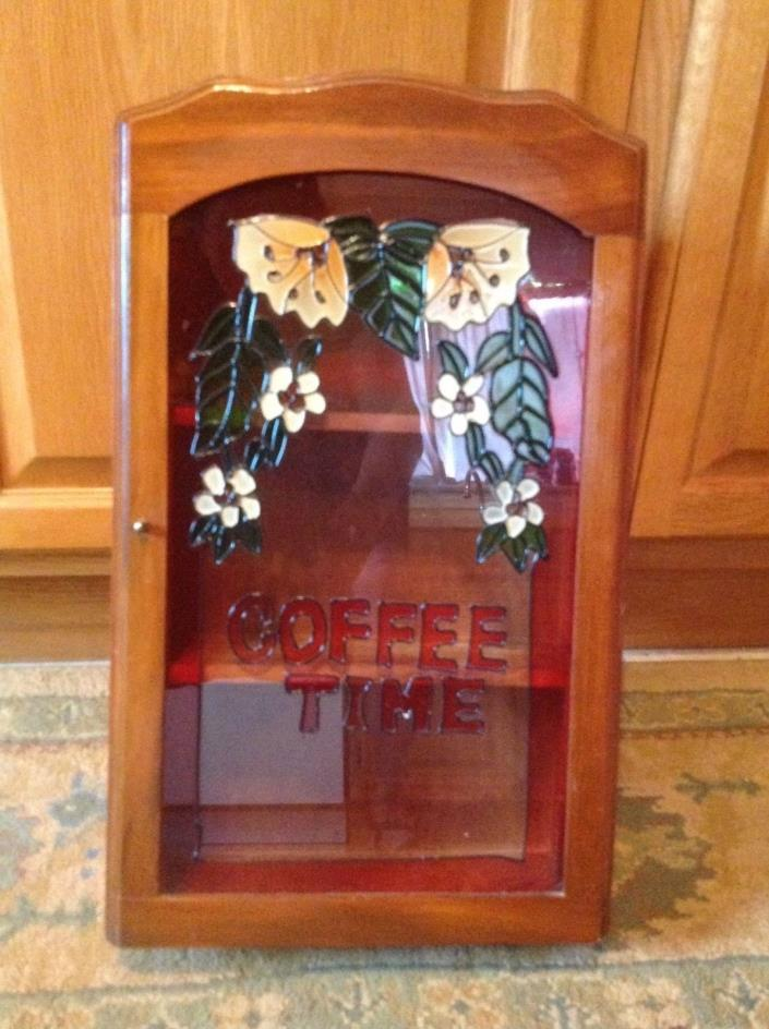 Vintage Table or Wall Wood Flowers Stain Glass Coffee Time Cabinet Unique