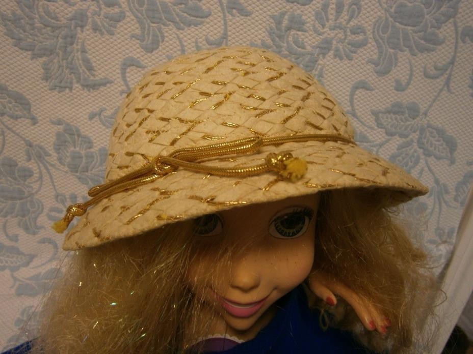 Stunning Woven Cream Gold Bead String Vintage Hat Derby Tea Church