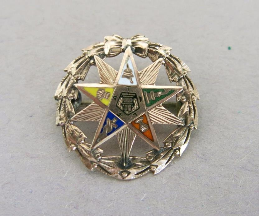 Vintage Eastern Star Brooch Pin Gold Filled Shriners Masons [2247]