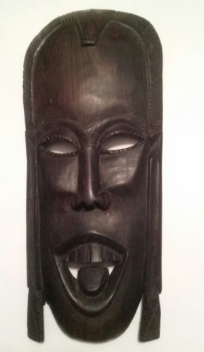 Vintage 1970s Besmo Hand Carved Ebony Wood South Africa Tribal Mask