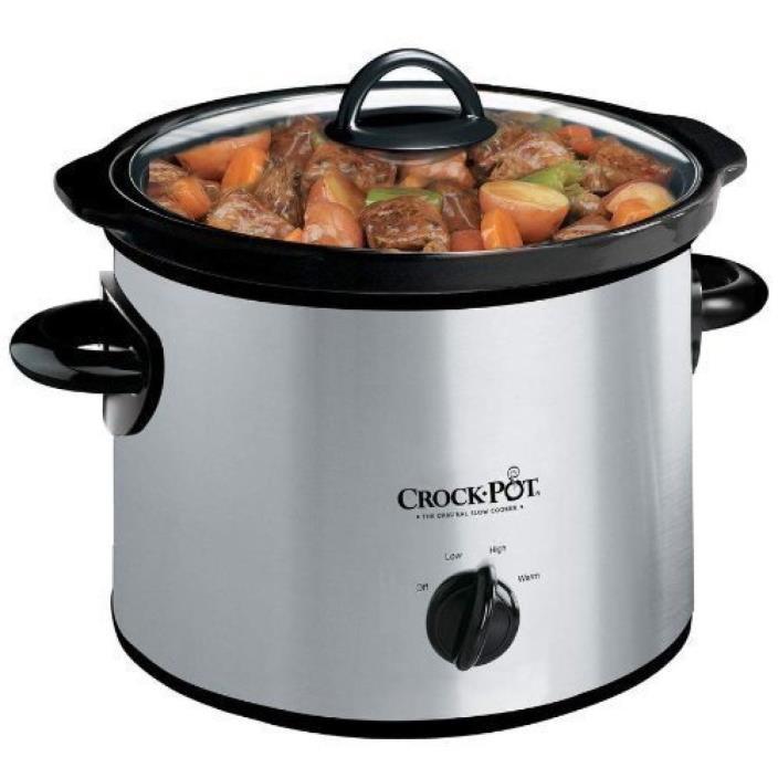 3 Quart Crock Pot Manual Slow Cooker Convenient Warm High Low Setting Silver New