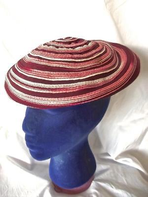 Vintage Old 60s Burgundy Red Swirl Stripe Beret Funky Shabby Chic Christmas Hat