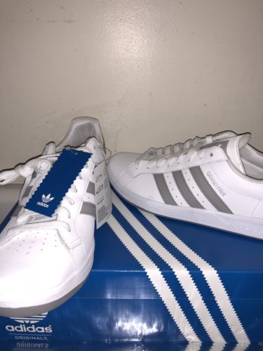 adidas grand prix shoes  New white leather  3 Stripes Aluminum Size US 10 New