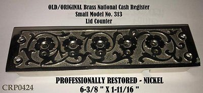 OLD Sm Brass Nat'l. Mdl 313 Cash Register Lid COUNTER - Professionally Restored