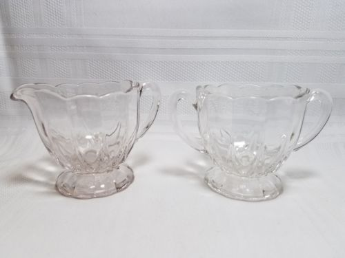 VINTAGE CREAMER AND SUGAR BOWL - FOOTED & RIBBED W/SCALLOPED EDGE - 2 1/2 INCHES