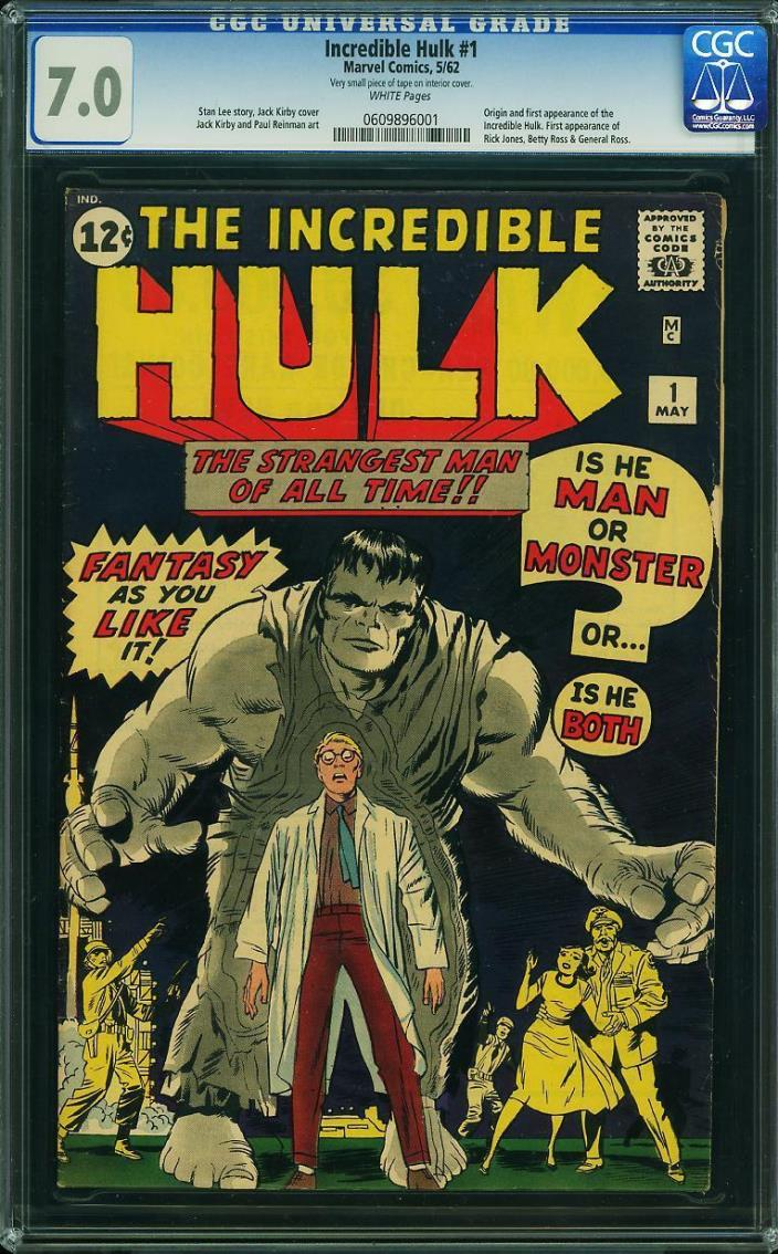 CGC 7.0 / INCREDIBLE HULK #1 / 1ST HULK / MARVEL COMIC 1962 / KEY!!! / HOT GRAIL