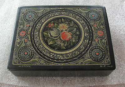 1880'S IMPERIAL RUSSIAN PAPER MACHE BOX HAND PAINTED SIGNED, MSTERA ANTIQUE