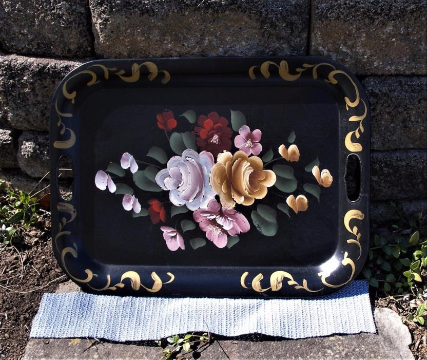 Vtg TOLE TolewareTRAY Handpainted Roses FLORAL 20 x 14.5 Inches Black Metal
