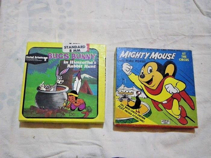 2  8MM Movies Mighty Mouse At The Circus & Bugs Bunny In Hiawatha's Rabbit Hunt