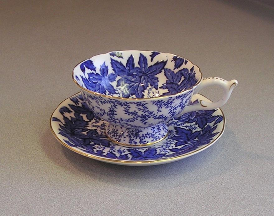 Coalport  #4891  - Fine Bone China Tea Cup & Saucer Cobalt Blue England