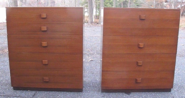 PAIR GILBERT ROHDE HERMAN MILLER WALNUT CHESTS DESK art deco cabinet dressers