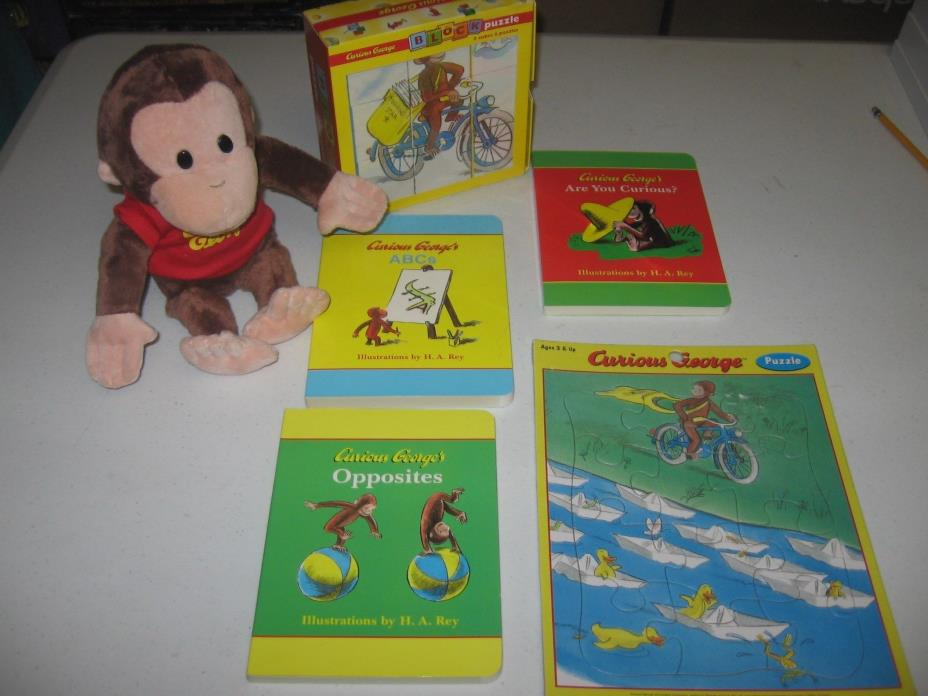 Curious George Plush stuffed Monkey plus 3 books, 2 puzzles