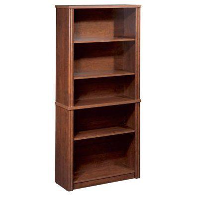 Tuscany Brown Five-Shelf Scratch Resistant Bookcase, Bestar Office Furniture