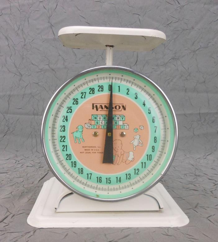 Vintage Hanson Nursery Scale with Baby, Bear & Lamb Model 3025 Northbrook IL USA