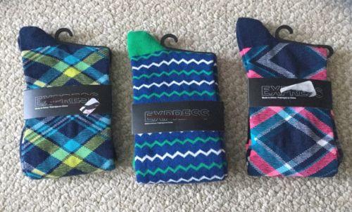 NEW LOT 3 Express Blue Teal Pink green White Striped plaid Dress Socks Men's