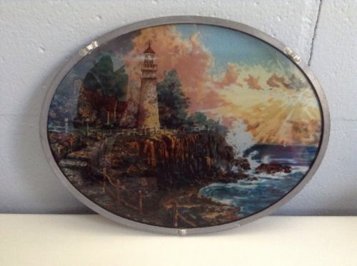 Thomas Kinkade Stained Glass Lighthouse Oval Metal Frame