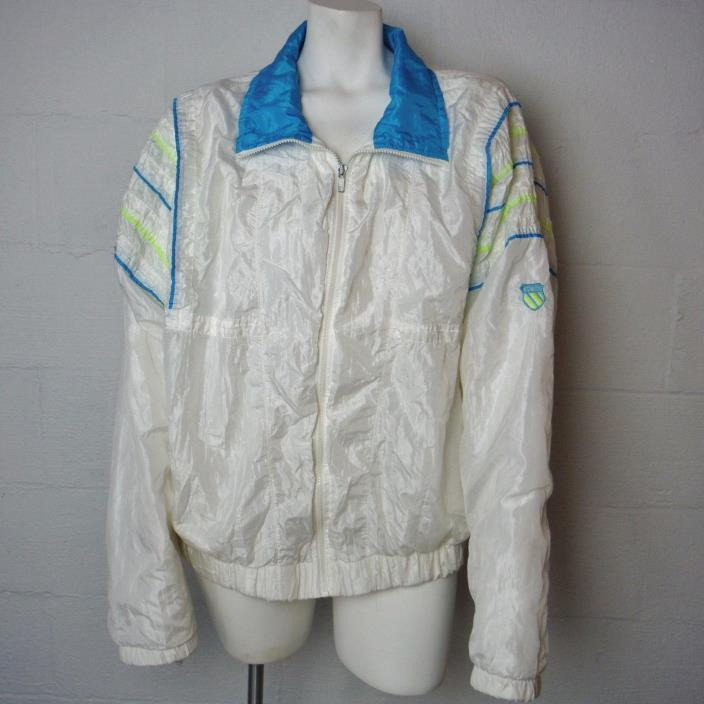 Vintage Ladies White K-Swiss White Zippered Windbreaker Jacket XL Made In USA