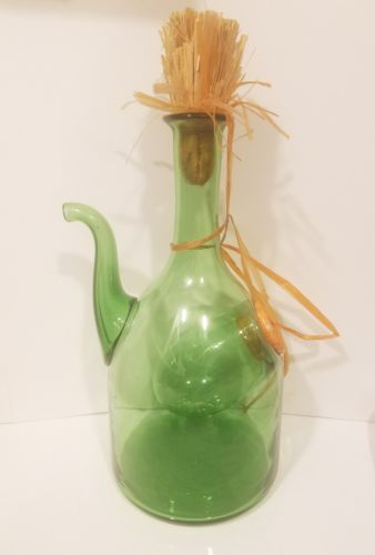 Vintage Italian Wine Decanter Cooler Carafe Green Hand Blown Glass With Ice...
